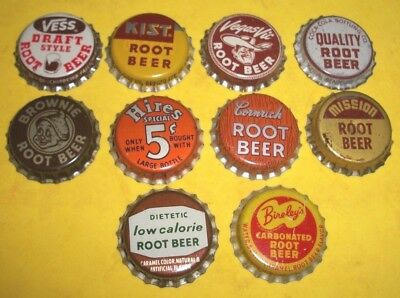 (10) Diff Unused NOS Vegas Vic/Brownie/Hires Root Beer Cork Soda Bottle Caps  A