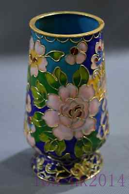 Collectable Chinese Cloisonne Carving Blooming Flower Home Decor Old Brush Pot