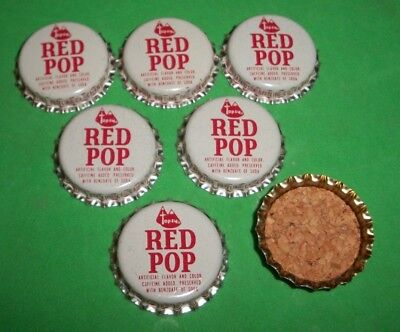 (6) Unused NOS 1950/60/70s Red Pop Catawisa Pa Cork Lined Soda Bottle Caps   A