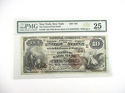 1882 New York, NY National Park Bank Note $10 Brown Back FR#480 PMG 25 Very Fine