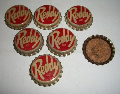 (6) Unused NOS 1940/50s Era Reddy Punch Cork Lined Soda Bottle Caps  *NICE* A