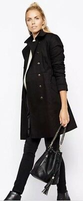 Brand New NWT ASOS Black Maternity Belted Trench Coat/Jacket Size 6
