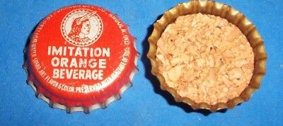 (1) Reflared 1950/60s Pokagon Orange Angola Indiana Cork Soda Bottle Cap RARE A