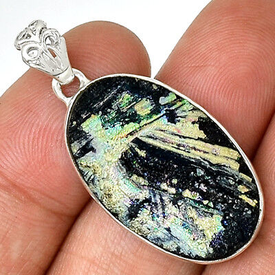 Ancient Roman Glass 925 Sterling Silver Pendant Jewelry AP13492