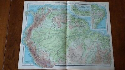 1923 Map Of South America N Section Protestant Mission Stations John Bartholomew