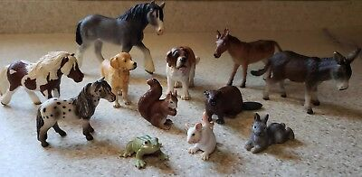 Lot of 12 SCHLEICH Farm Animals Domestic horses ponies jackass mule dogs rabbit