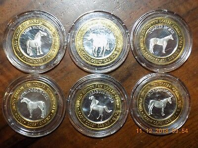 (6) SOUTH COAST CASINO .999 Silver Strikes - Six Different Horses - In Capsules