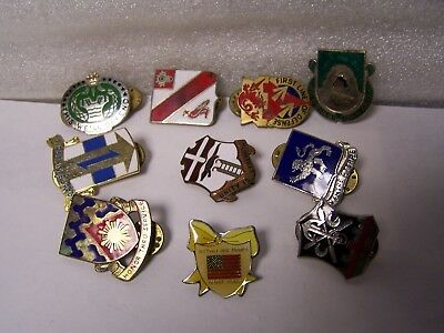 Huge Lot of 10 US Military Issue Army Beret Uniform Unit Crest Badge Flash Pins