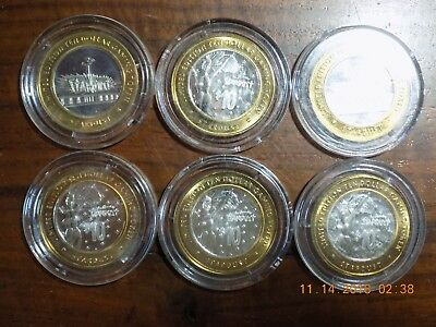 (6) STARDUST CASINO .999 Silver Strikes - Two Different Types - BU's in Capsules