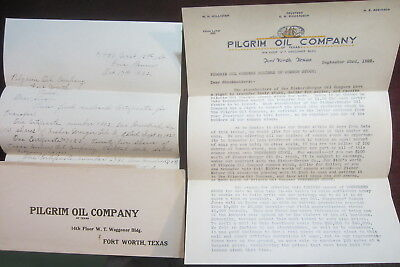 Early 1922 Pilgram Oil Company Letterhead and Letter Fort Worth Texas