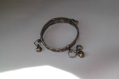Old Indian Silver Baby Bell Bracelet