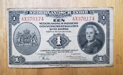 1943 Netherlands Indies 1 Gulden Queen Wilhelmina  World Banknote