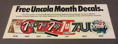 1977 7-Up Uncola Month Decals Advertising Card