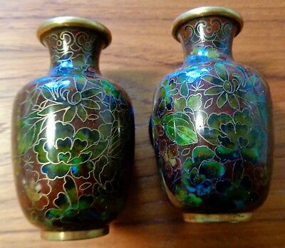 """Vintage Chinese Miniature Cloisonne Vases (Pair) ~ 3 1/4"""" Tall w/ Stands"""