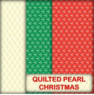 Christmas Quilted Pearl Scrapbook Paper - 12 A4 Pages