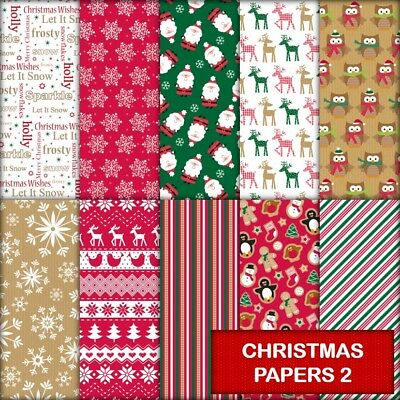 CHRISTMAS PAPERS 2 SCRAPBOOK PAPER - 10 x A4 pages.