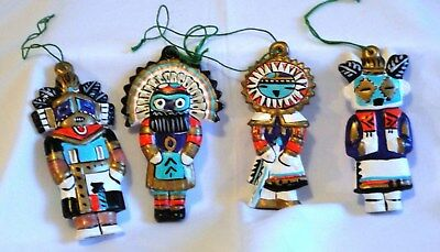 Vintage Native American Kachina Dolls Ceramic Christmas Ornaments Taos