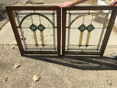 """Antique Chicago Bungalow Style Stained Leaded Glass Windows 34"""" by 27"""" Window"""
