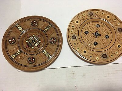 2 Vintage Hand Carved Wood Mother Of Pearl Inlay Plates SHELF OR WALL  ART DECOR