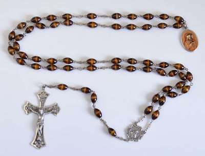 Stunning VINTAGE TIGER TONE GLASS Rosary on STERLING SILVER NR