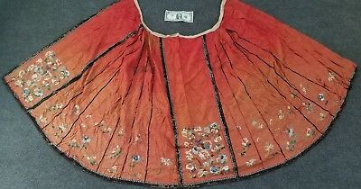 "Antique Chinese Silk Embroidery Skirt Robe Textile 19th Century Qing  77"" x 32"""