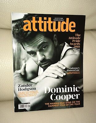Attitude Magazine August 2018 Issue Dominic Cooper Cover LGBT Gay Interest