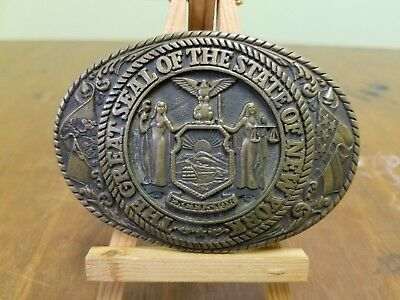 Great Seal State of New York Brass Belt Buckle Tony Lama Collection