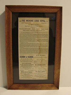 1885 Broadside Medicine Lodge Hotel. Kansas, Cattle Trade, Wild West, Local Ads