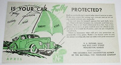 """6"""" X 3-3/8"""" Circa 1940 'national Fire Ins. Co. Blotter--Graham Auto? Ford?"""