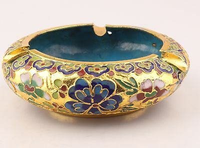 Vintage Chinese Cloisonne Enamel Ashtray Old Handmade Decorative Gift Collection