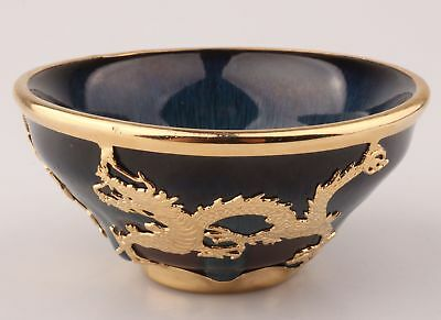 Chinese Gold-Gilt Porcelain Tea Bowl Buddhist Offering Inlaid Dragon Decoration