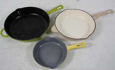 Lot 3 Enamel Cast Iron Skillets Technique Belgium Green Yellow Tan