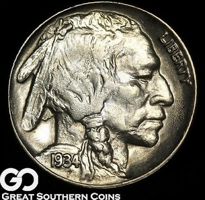 1934 Buffalo Nickel, Gorgeous Solid Gem BU