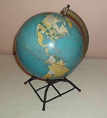 """VINTAGE REPLOGLE SIMPLIFIED 8"""" TIN GLOBE ON METAL STAND French West Africa USSR"""