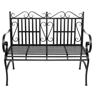 Vintage Style IRON PATIO BENCH CHAIR OUTDOOR DECK PORCH PATIO YARD