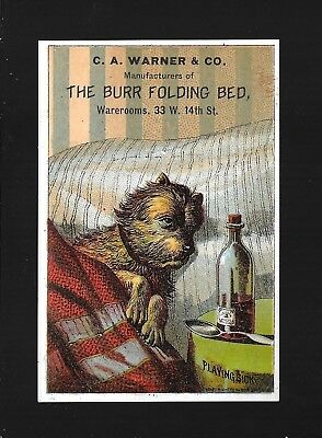 Sick Little Dog Recovers In His Burr Folding Bed-Victorian Trade Card