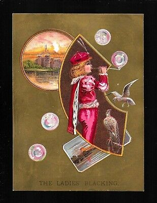 Little Prince Blows Colorful Soap Bubbles-1880s Victorian Trade Card