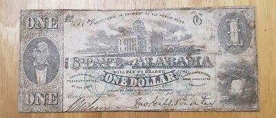 Confederate State of Alabama $1 Treasury Note (Nice Note)