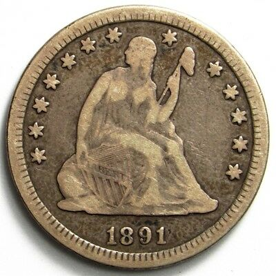 1891 Seated Liberty Quarter - VG/F - 25c Silver - Very Good to Fine