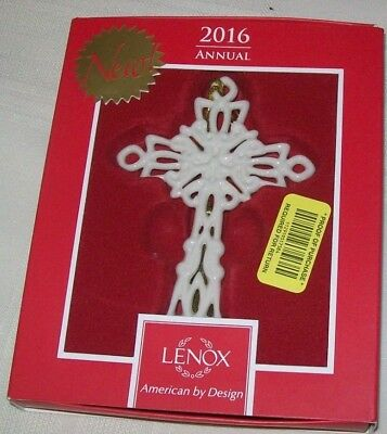Lenox 2016 Cross Christmas Ornament Snow Fantasies    4.5 inch New Annual