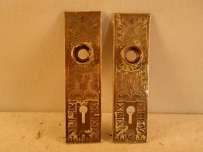 set of 2 matching Eastlake / Victorian door back plates!!! solid brass!!!