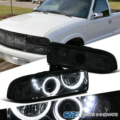 98-04 Chevy S10 Blazer Pickup Smoke Lens SMD LED Halo Projector Headlights Pair