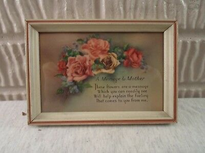 old wood picture frame, Print- Poem to mother , 4 X 6 inches, # 967