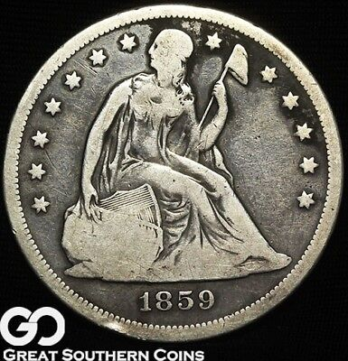 1859-O Seated Liberty Dollar, Always Sought After Silver Dollar Series, Free S/H