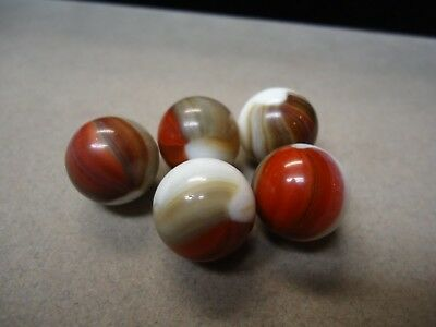 5 Vintage Akro Agate Company White base brown & red  Patches  5/8    MInt