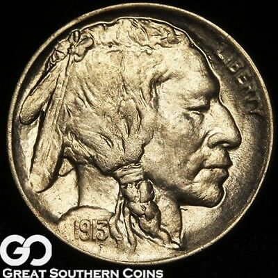 1913-D Buffalo Nickel, Type 1, Gorgeous Solid Gem BU++