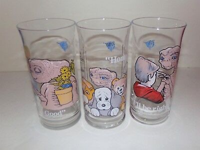 From Pizza Hut Set Of Three E.t. Glasses! The Extra-Terrestrial! Sweet Glasses!