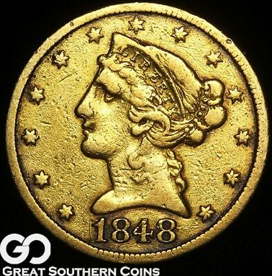 1848-C Half Eagle, $5 Gold Liberty, Highly Coveted CHARLOTTE Issue