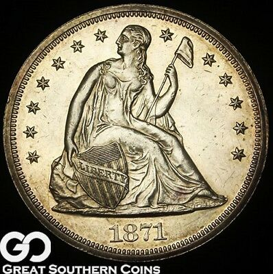 1871 Seated Liberty Dollar PROOF, Highly Demanded Choice Gem PF++, 960 PR Minted