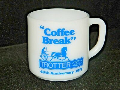 Federal Milk Glass Coffee Cup Mug Advertising Trotter Ford 40th Anniversary 1977